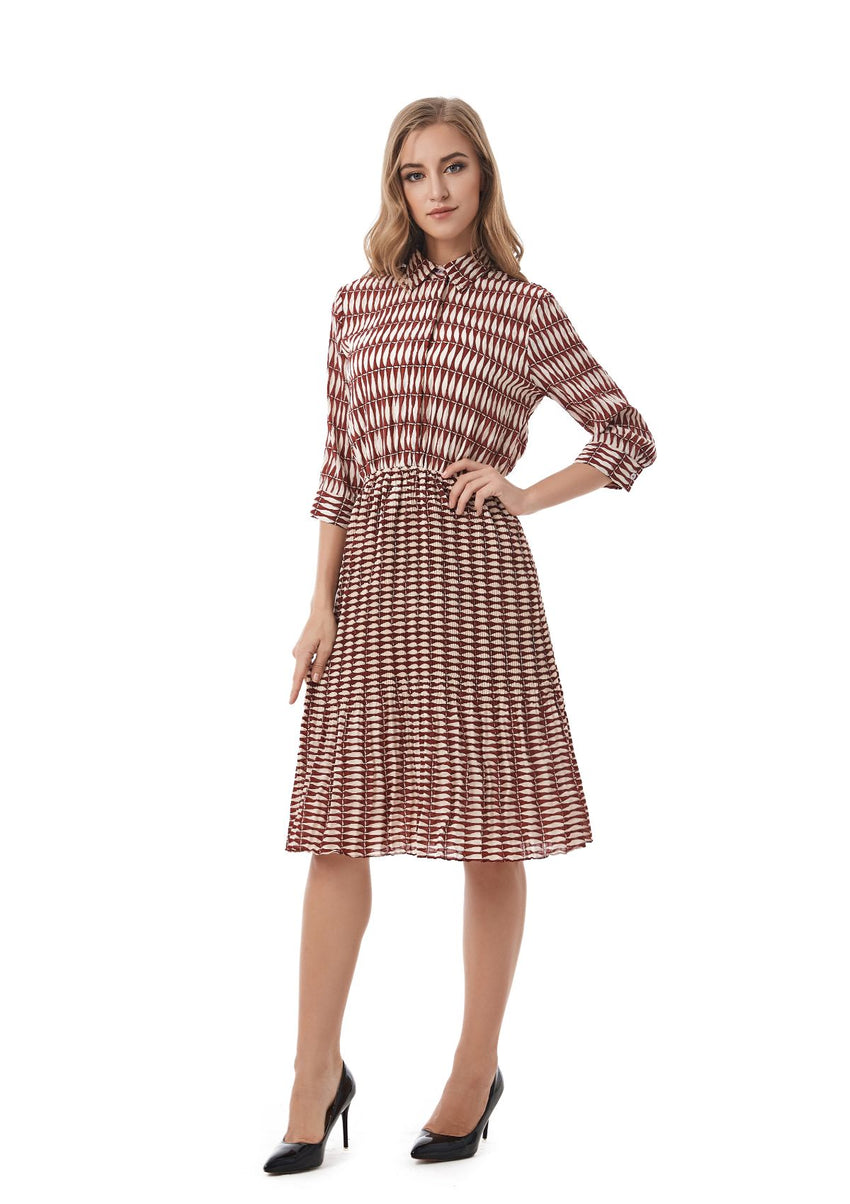 Collared Shirt Dress with Pleated Skirt 2829