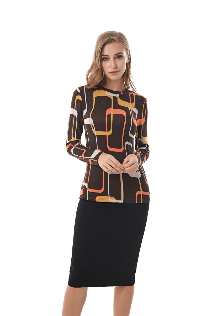 Long Sleeve Modest Print T Shirt 2830 - MissFinchNYC