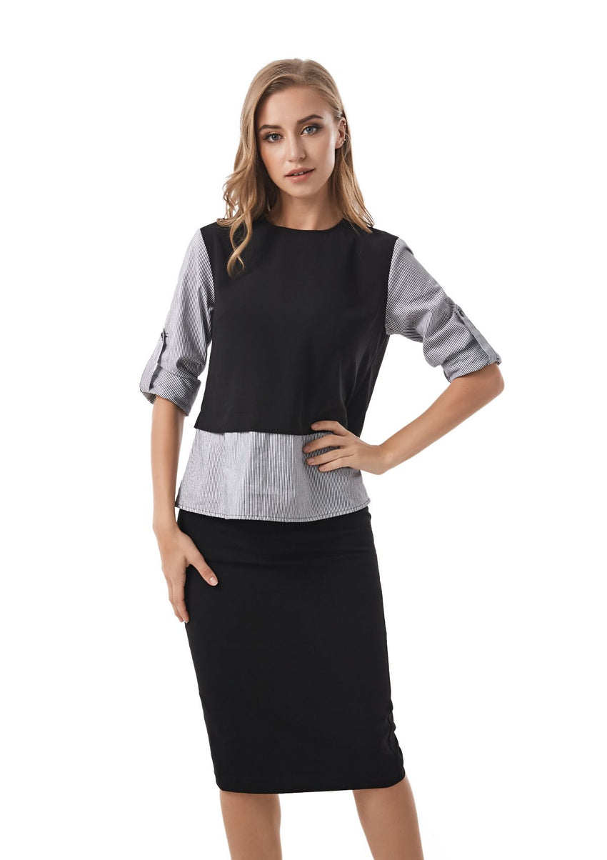 Faux 2 pc Look Modest shirt with Back Details 2832 - MissFinchNYC