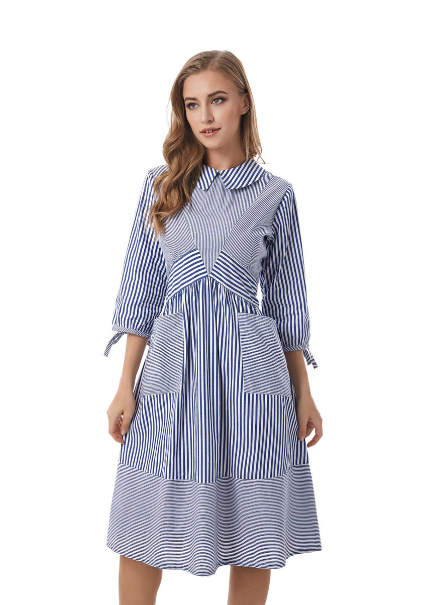 Striped Detailed Modest Dress With Pockets 2833 - MissFinchNYC