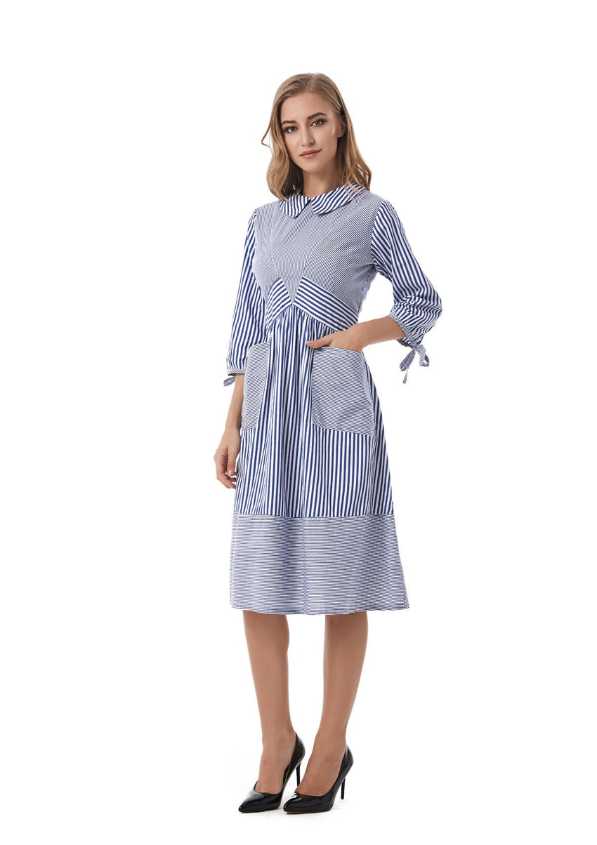 Striped Detailed Modest Dress With Pockets 2833