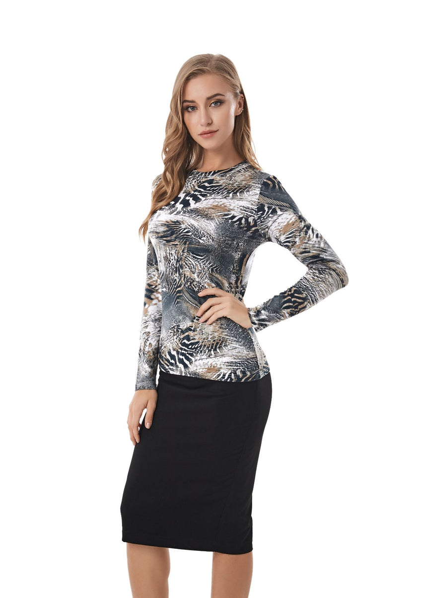 Long Sleeve Modest Print T Shirt 2836 - MissFinchNYC
