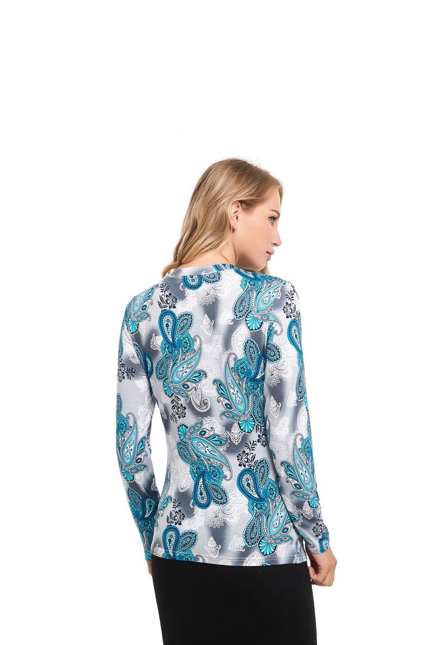 Long Sleeve Modest Print Tshirt Top 2837 - MissFinchNYC
