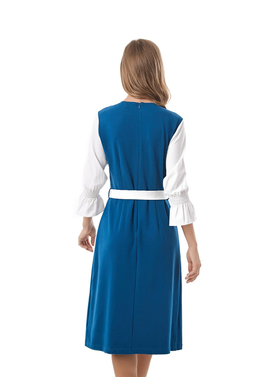 Blue Modest knit dress with off White Sleeves 2840