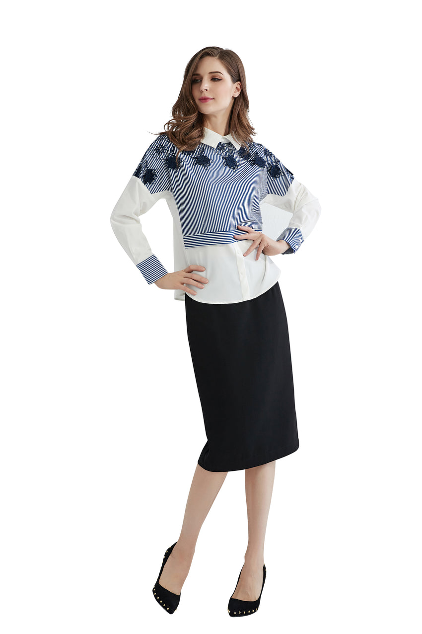Stripe & Solid Peter Pan Collar Top With Lace work 2841 - MissFinchNYC