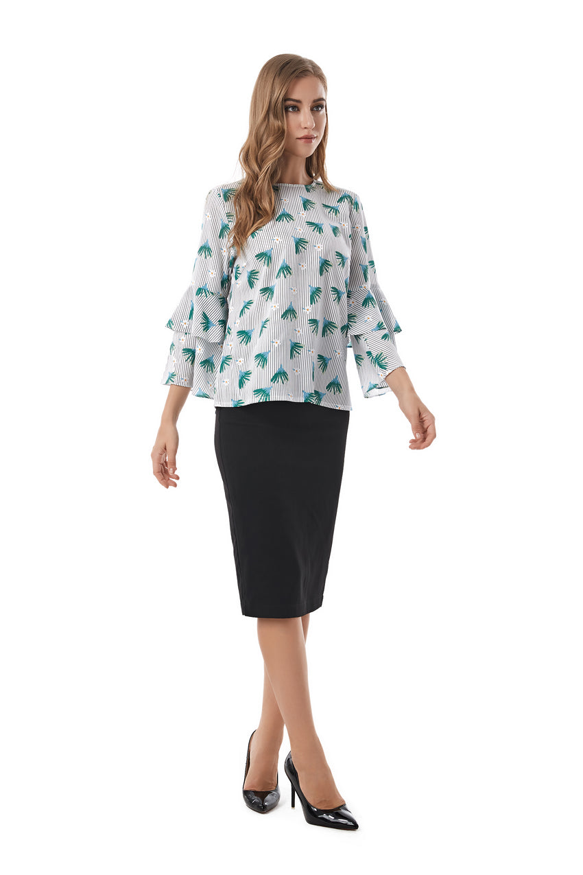 Floral Print  Blouse With Layered Bell Sleeve 2842
