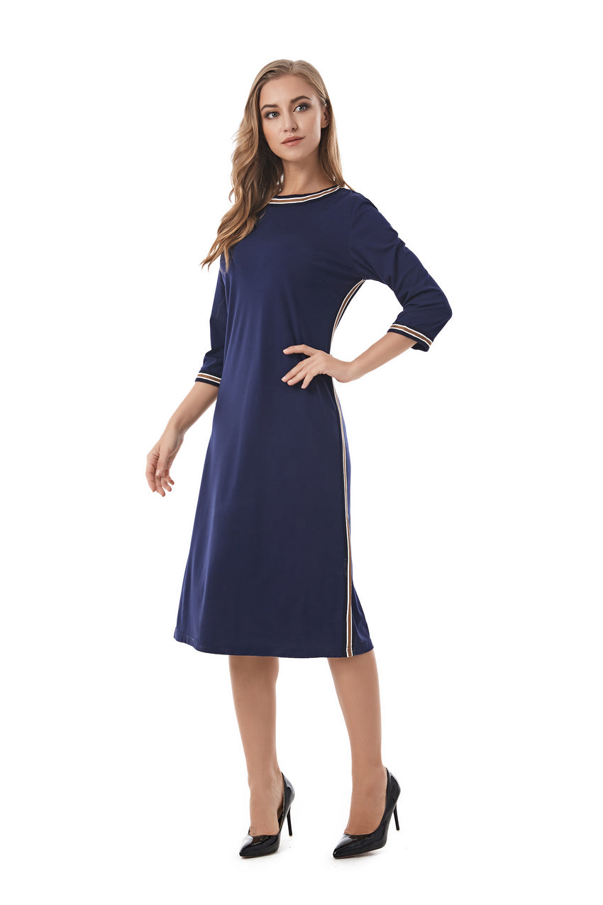 Casual Modest Navy sheath dress with Stripe band details 2843