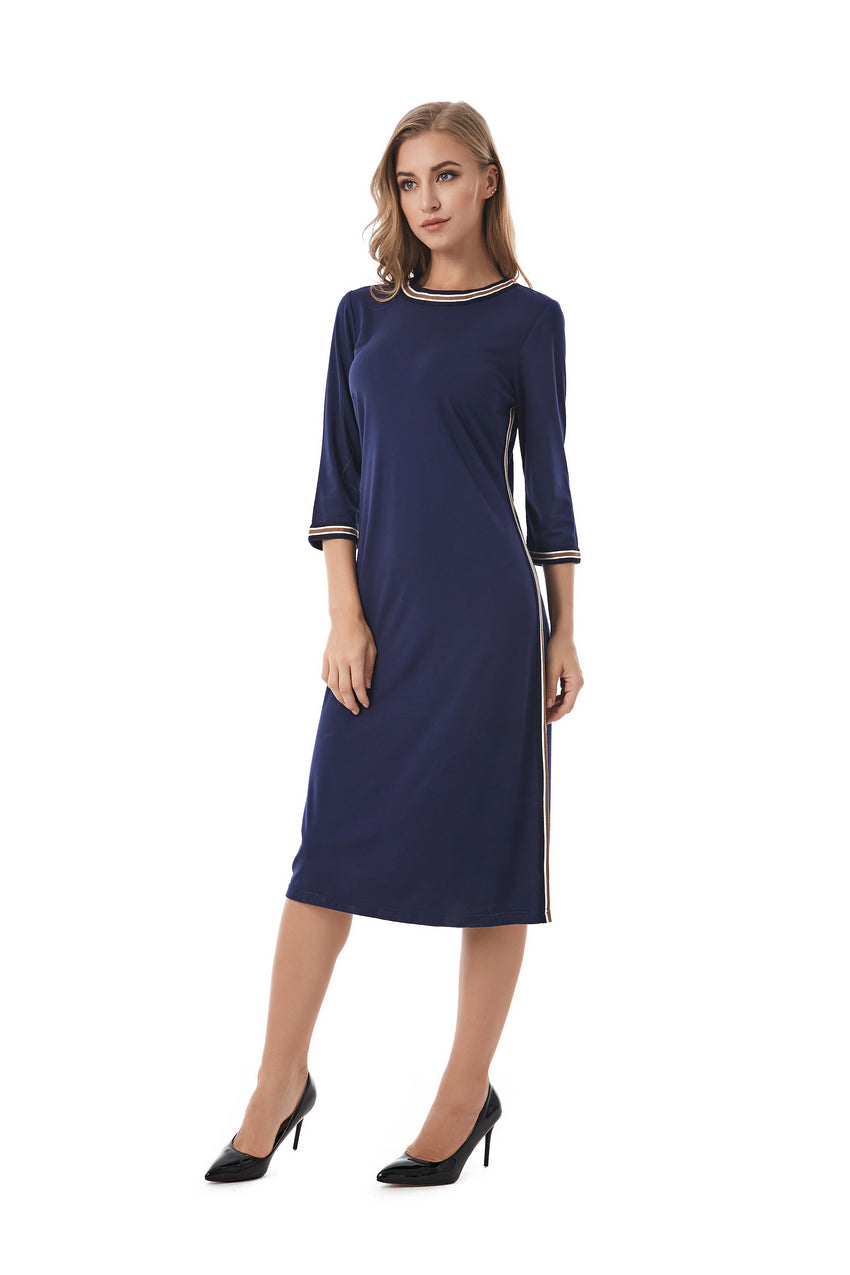 Casual Modest Navy sheath dress with Stripe band details 2843 - MissFinchNYC