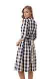 Plaid Modest Self Belted Dress 2844