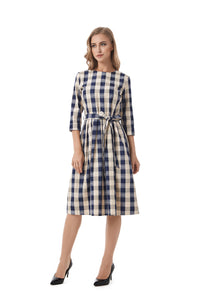 Plaid Modest Self Belted Dress 2844 - MissFinchNYC