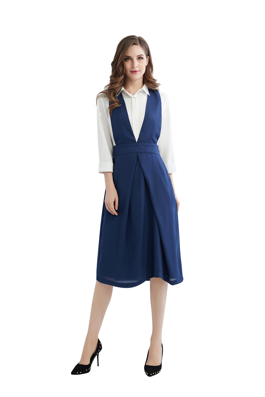 Modest Blue & White Apron Dress 2845 - MissFinchNYC