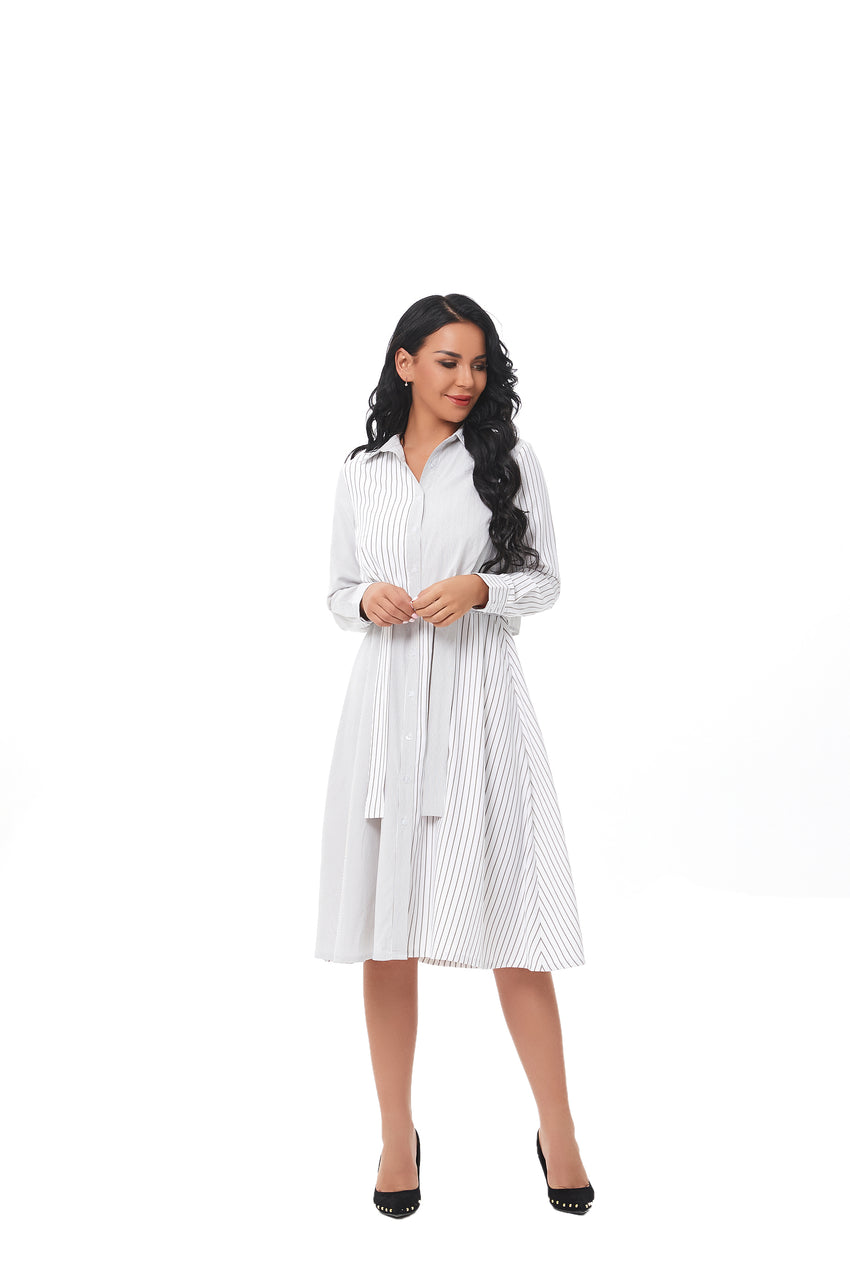 Mixed Striped Shirt Dress with Tie Front 2847