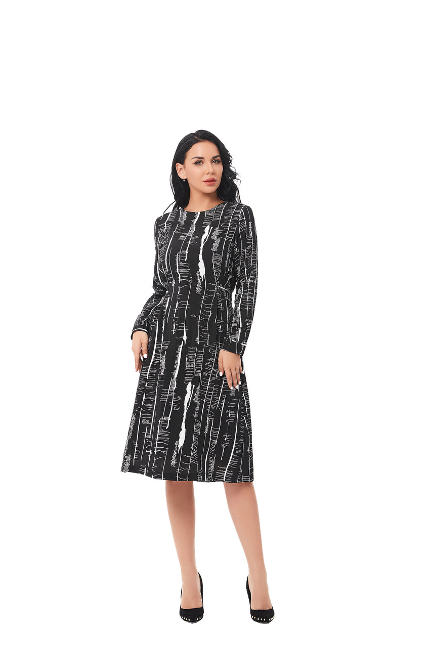 Modest Textured Black/ White print Fabric dress with self Belt 2848 - MissFinchNYC
