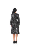 Modest Textured Black/ White print Fabric dress with self Belt 2848