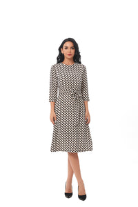 Modest Small Geometric Print Dress With Self Belt 2849 - MissFinchNYC