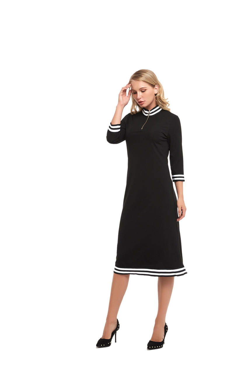 3/4 Sleeve Modest Dress with Striped Band Detail 2853 - MissFinchNYC