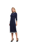 3/4 Sleeve Modest Dress with Striped Band Detail 2853