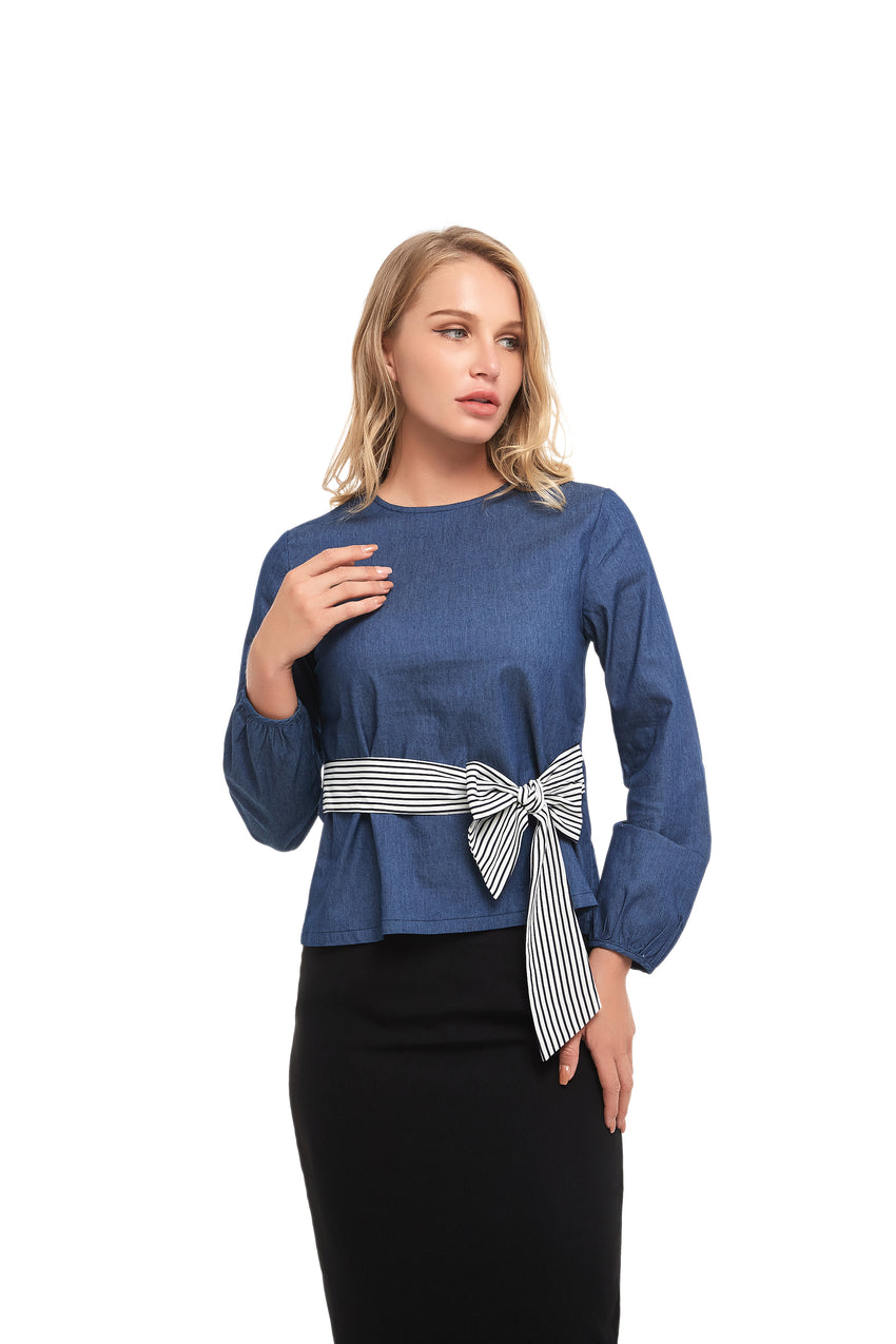 Long Sleeve Modest Denim Top With Striped Self Belt 2854 - MissFinchNYC