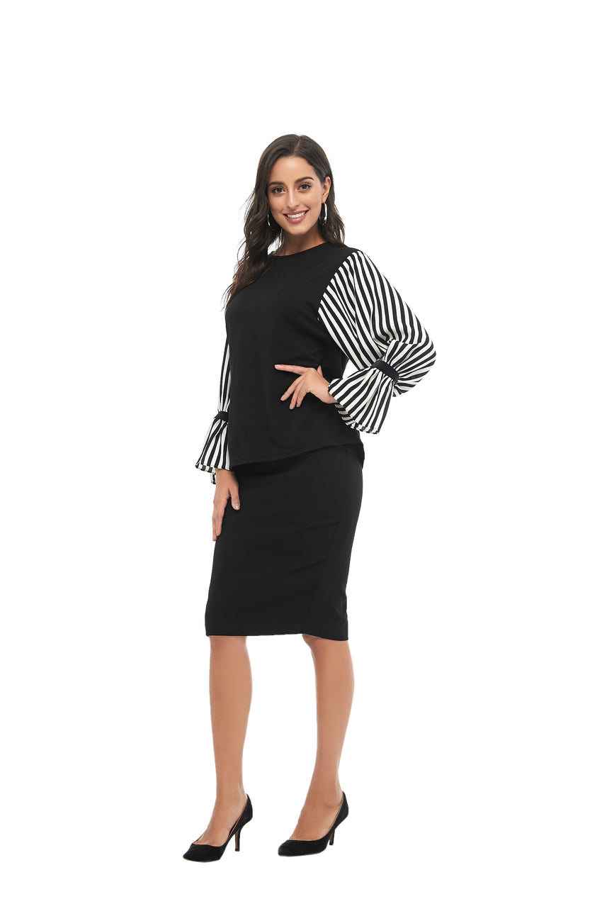 Striped Balloon Sleeve & Solid Body Modest Top 2855