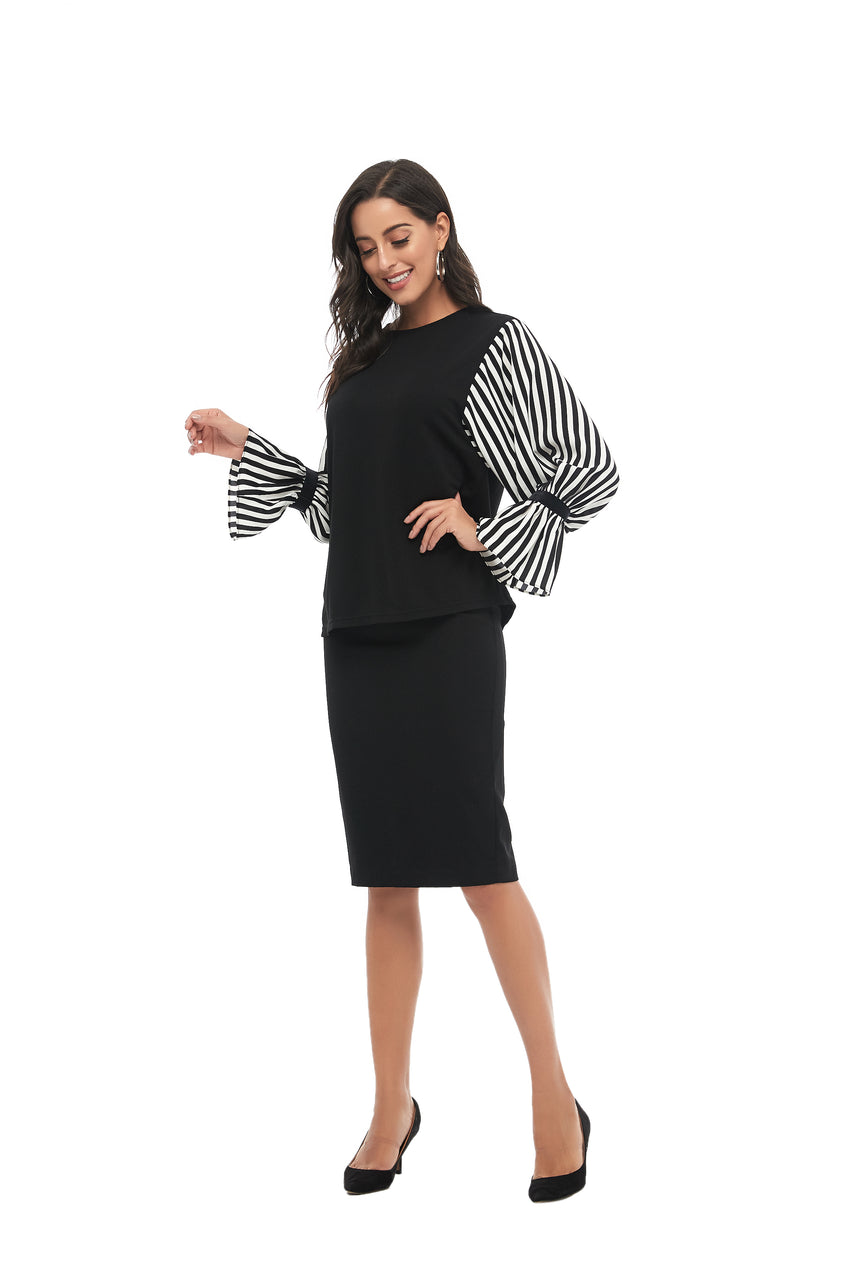 Striped Balloon Sleeve & Solid Body Modest Top 2855 - MissFinchNYC
