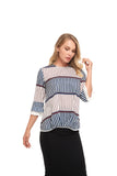 Striped Modest detailed front top 2856