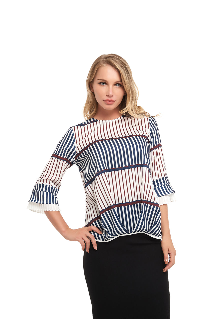 Striped Modest detailed front top 2856 - MissFinchNYC