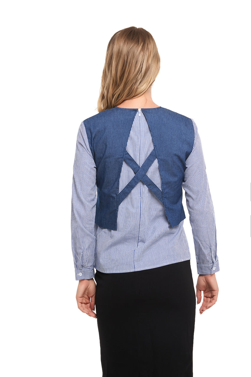 Faux 2pc Long Sleeve Denim Top With Stripe Fabric And Back Detail 2858