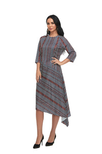 Asymmetrical Modest 3/4 Sleeve print Dress 2862