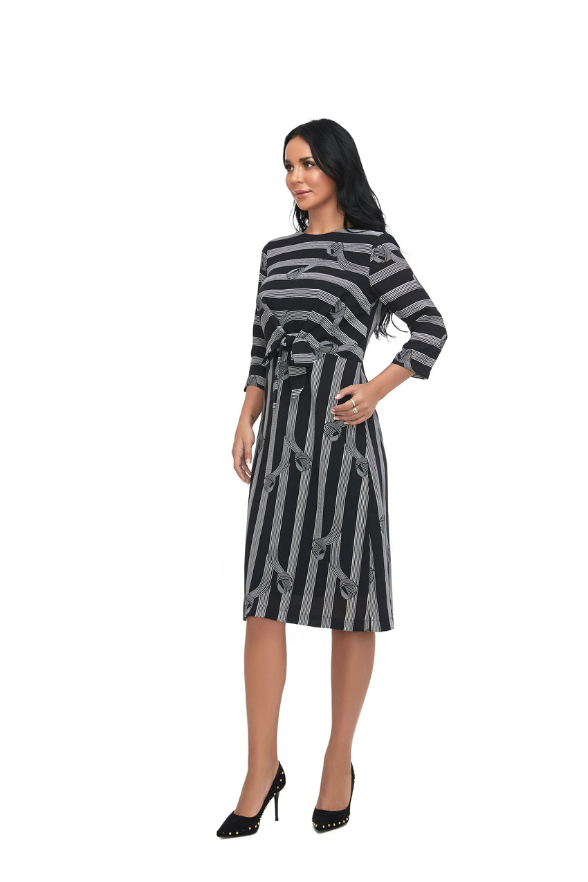 3/4 Sleeve Tie Front Modest Print Dress with  2863