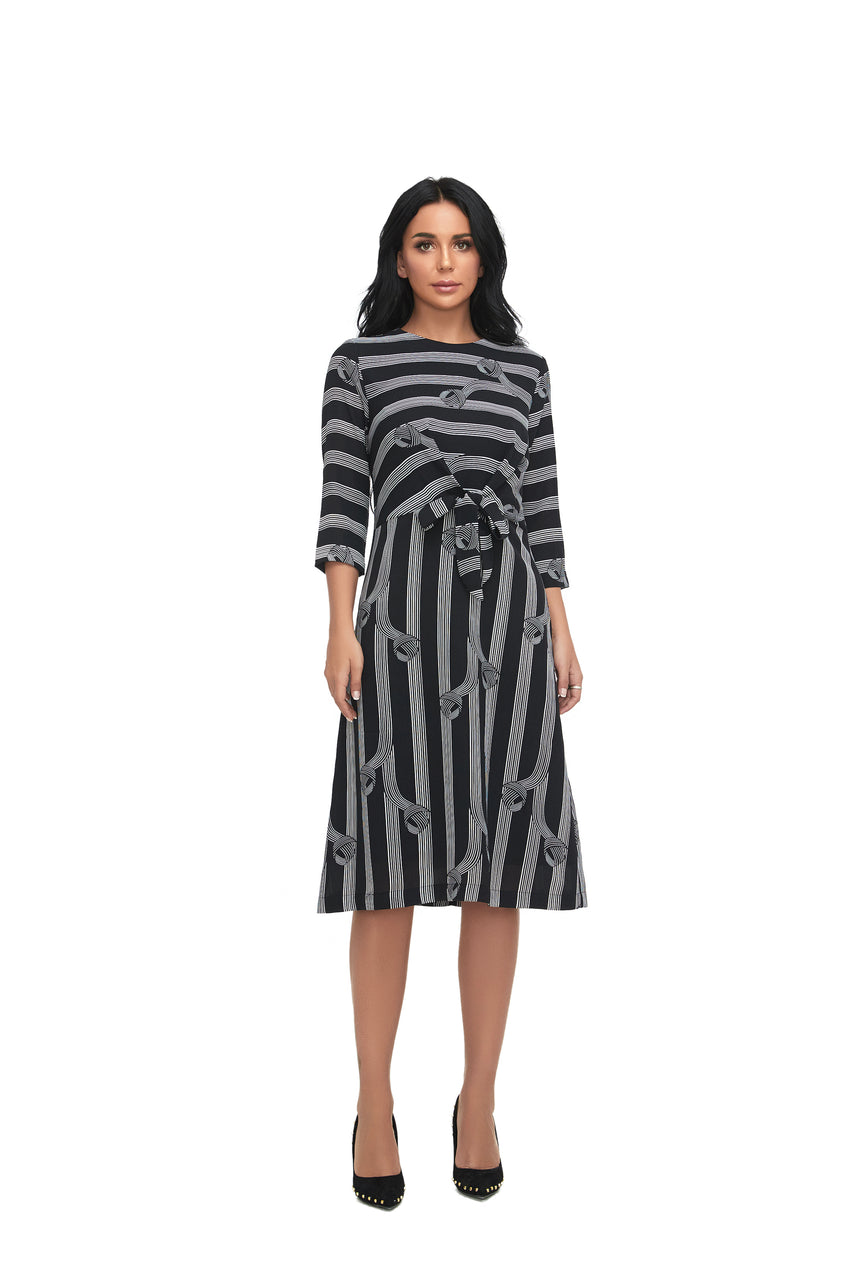 3/4 Sleeve Tie Front Modest Print Dress with  2863 - MissFinchNYC
