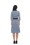 3/4 Sleeve Peter Pan Collar Modest Print Dress with matching belt 2864