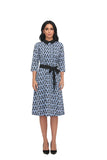 3/4 Sleeve Peter Pan Collar Modest Print Dress with matching belt 2864 - MissFinchNYC