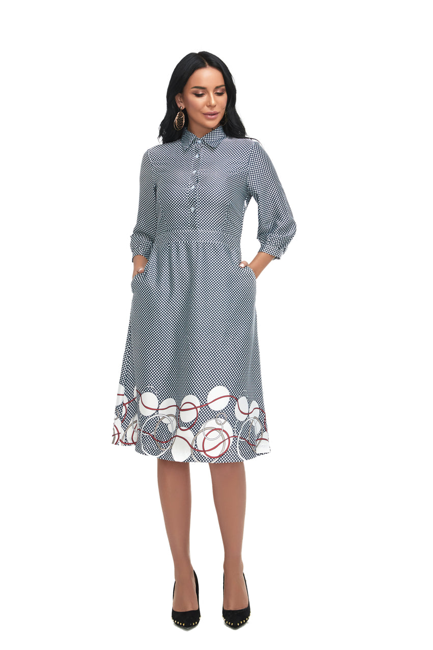 3/4 sleeve Modest Micro Dot Print Dress with pocket &  print Border 2865 - MissFinchNYC