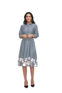 3/4 sleeve Modest Micro Dot Print Dress with pocket &  print Border 2865