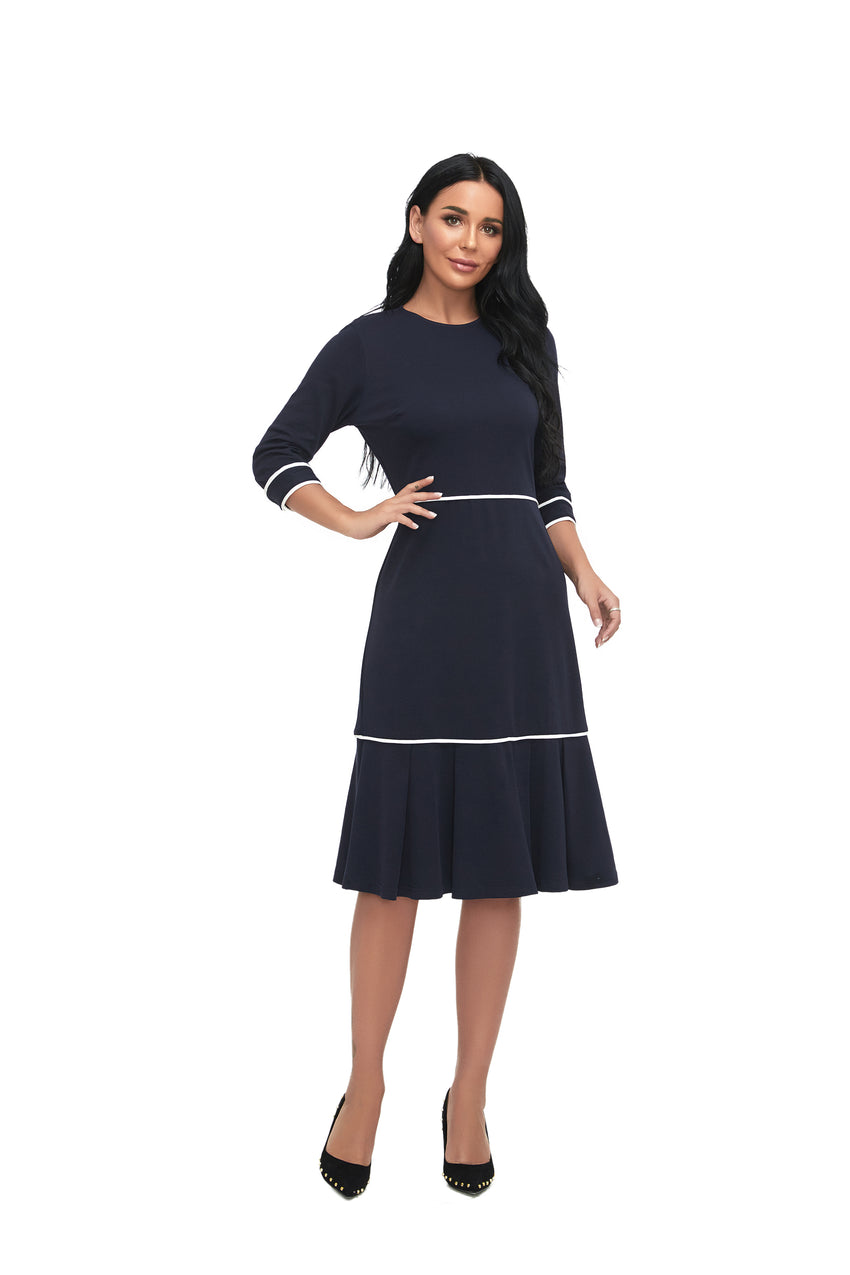 3/4 Sleeve Modest Solid Dress With  White Trimming 2866 - MissFinchNYC