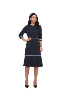 3/4 Sleeve Modest Solid Dress With  White Trimming 2866