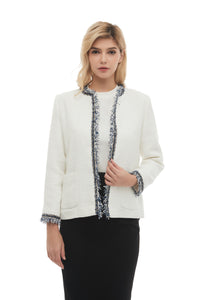 Elegant Modest Tweed Boucle Jacket 2868