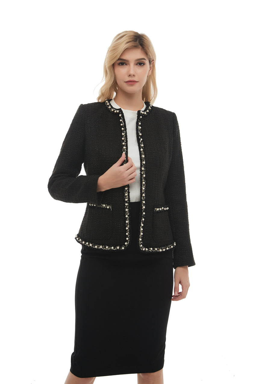 Elegant Long Sleeve Tweed Boucle Jacket 2869