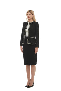 Elegant Long Sleeve Tweed Boucle Jacket 2869 - MissFinchNYC