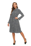 Long Sleeve Ruffled Trim Print Shirt Dress W/ Self Belt 2870 - MissFinchNYC