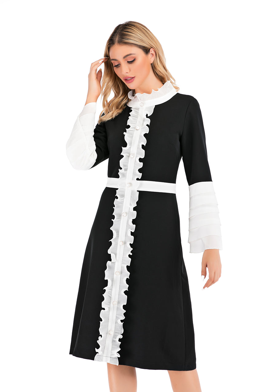 Modest Flounce Sleeves Black & white Dress With Ruffle Trimming 2874 - MissFinchNYC
