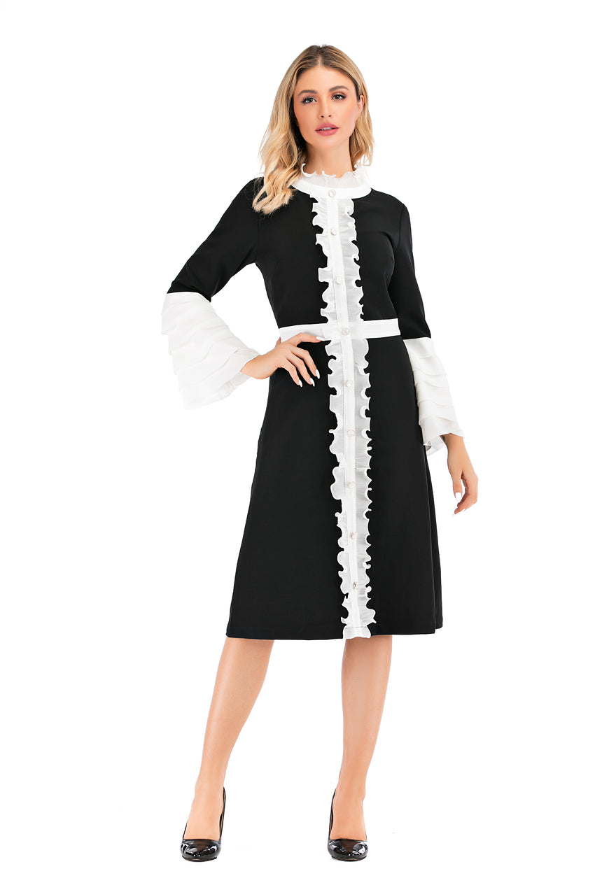 Modest Flounce Sleeves Black & white Dress With Ruffle Trimming 2874