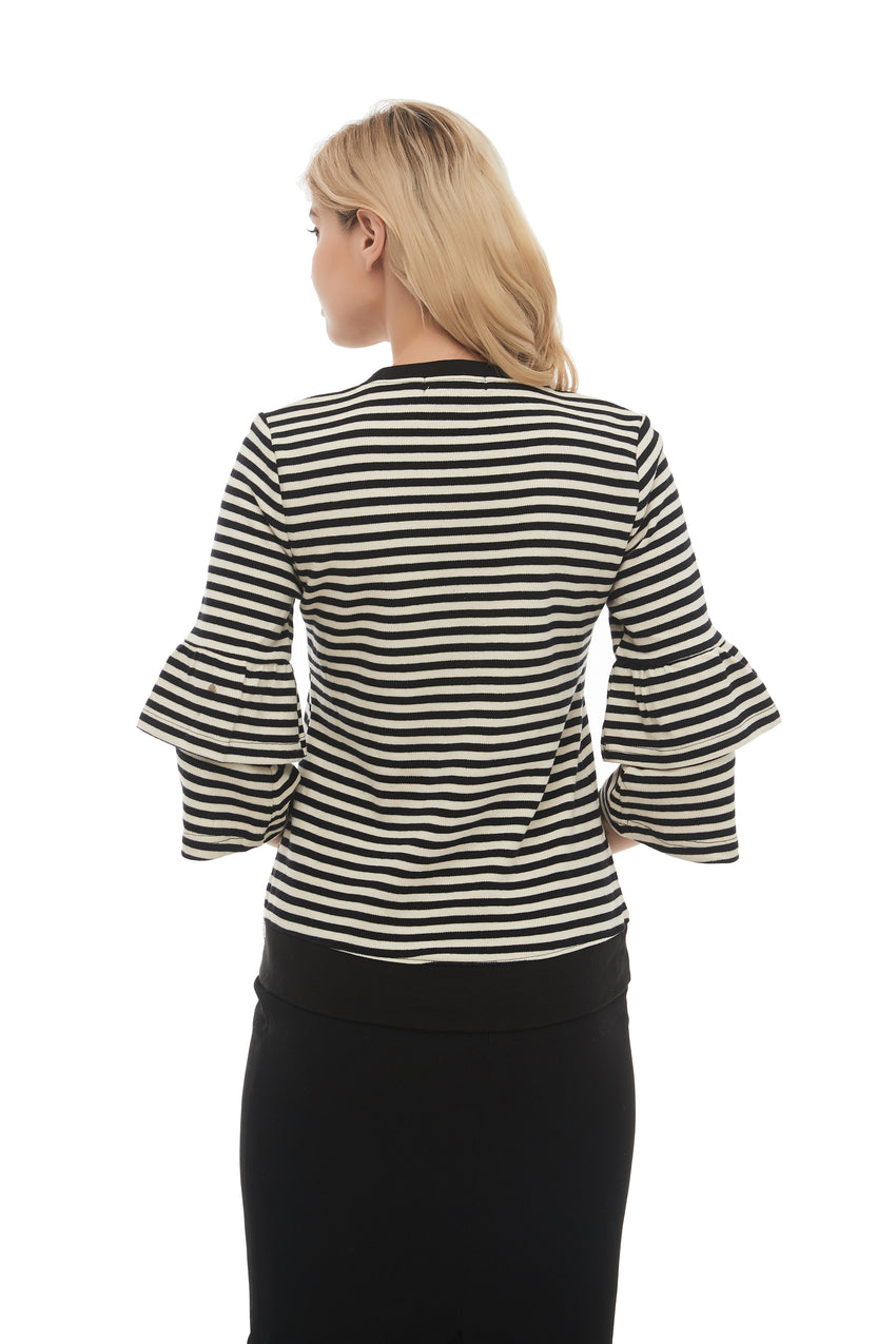 Modest Black & White Striped Sweater with Ruffled sleeves 2875