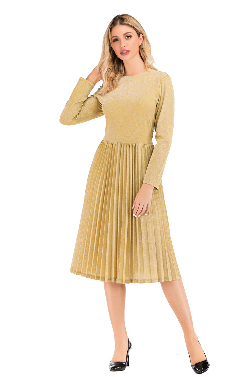 Modest Gold Shimmering  Long Sleeve  Dress with pleated skirt 2876G