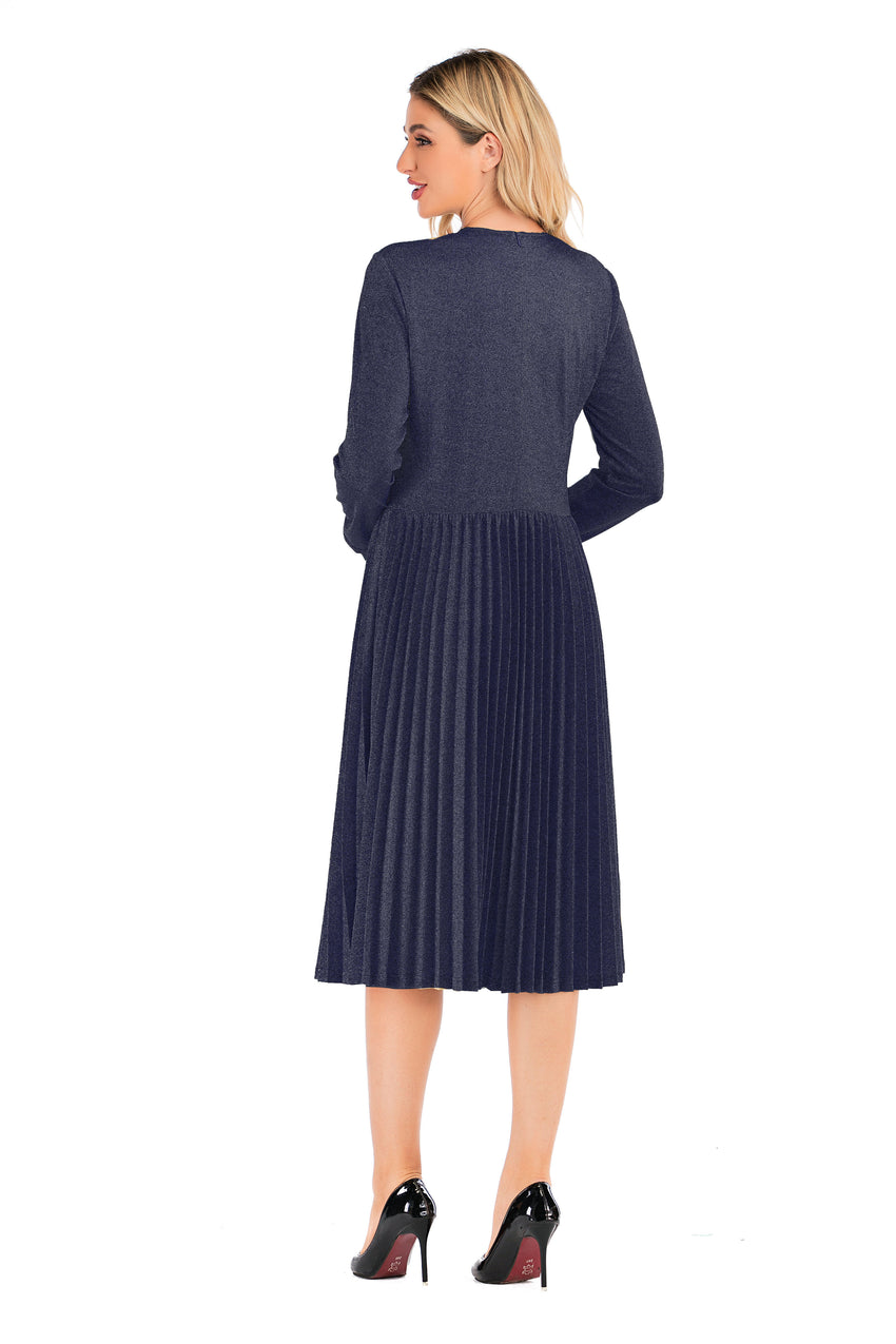 Modest Navy Shimmering Long Sleeve Dress With Pleated Skirt 2876N - MissFinchNYC