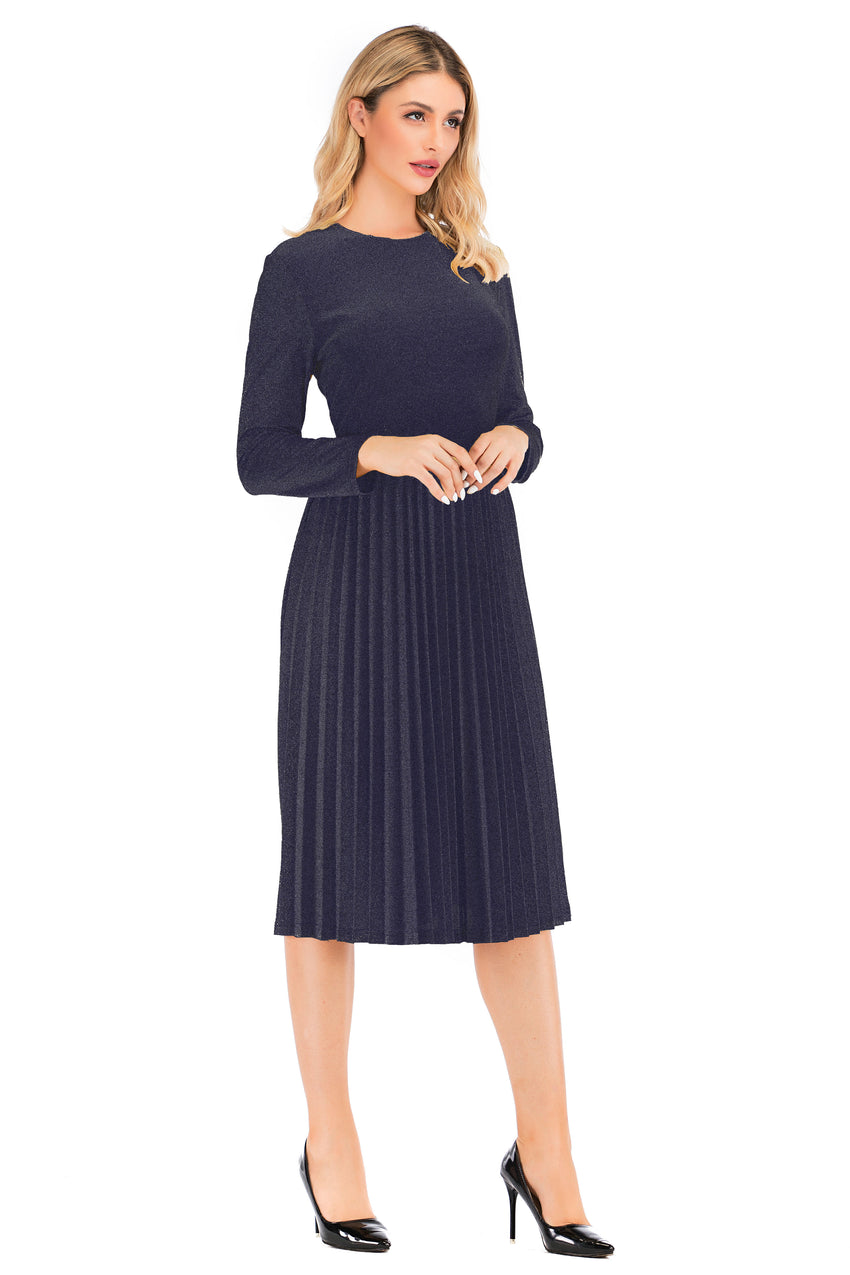 Modest Navy Shimmering Long Sleeve Dress With Pleated Skirt 2876N