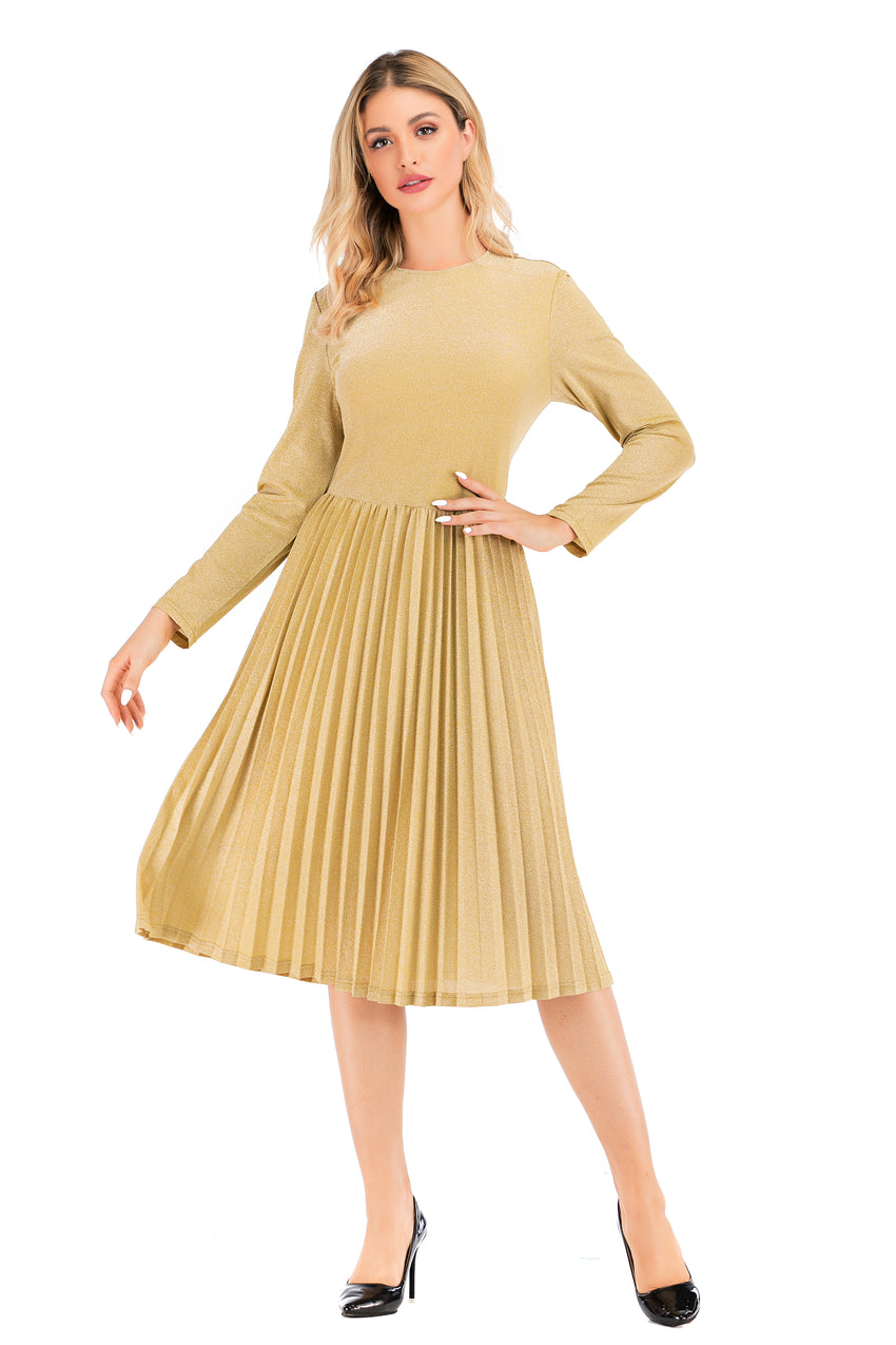 Modest Gold Shimmering  Long Sleeve  Dress with pleated skirt 2876G - MissFinchNYC