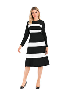 Black & White Modest A Line Dress 2878