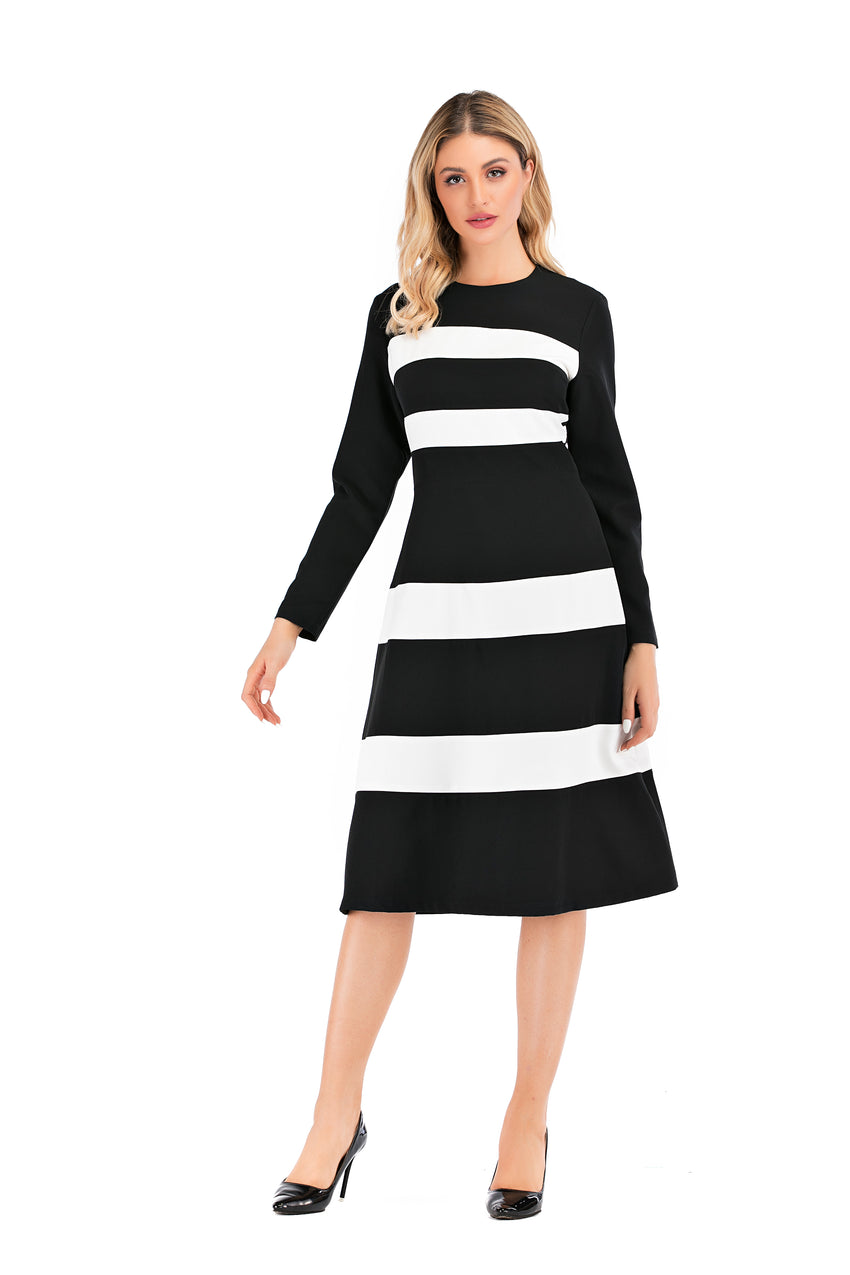 Black & White Modest A Line Dress 2878 - MissFinchNYC