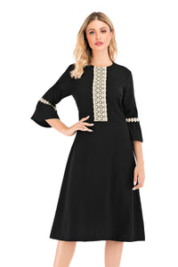 Elegant 3/4 Bell Sleeve Dress With Gold Shimmering Trim 2879